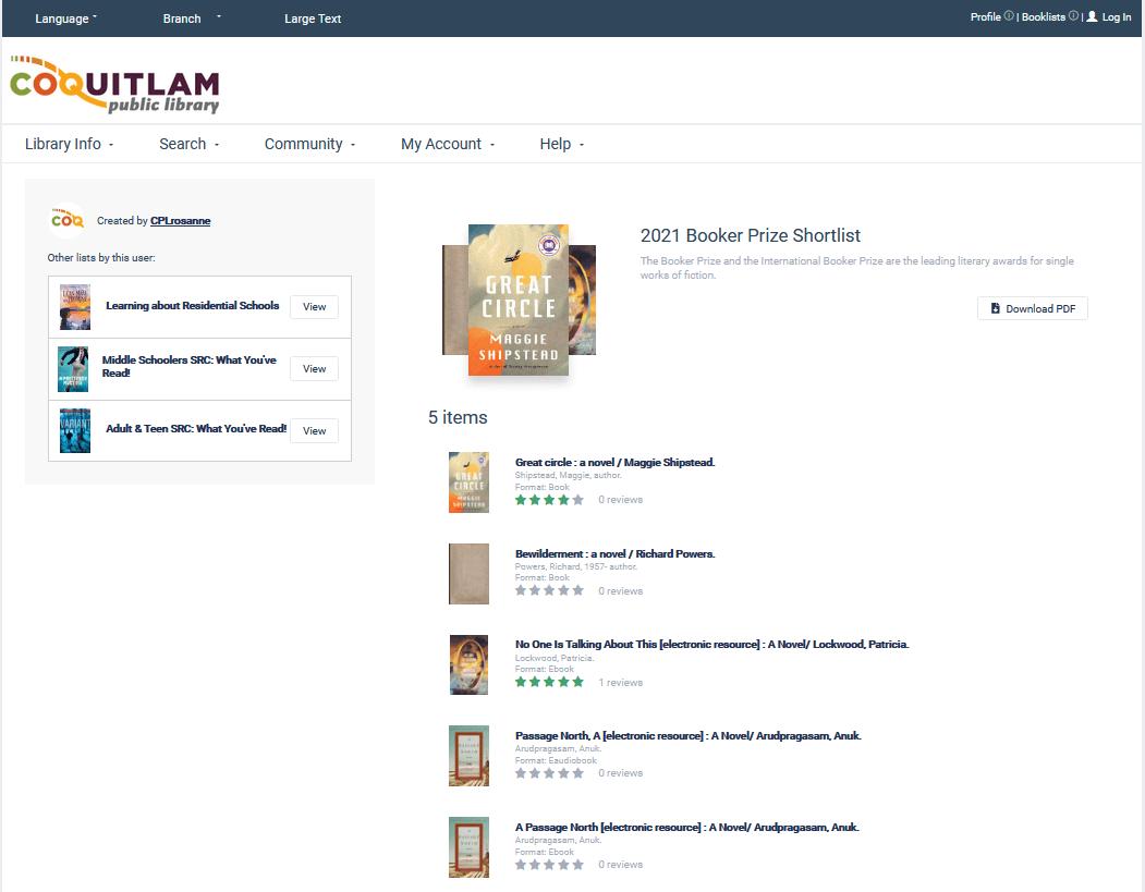 ChiliPAC booklist screen